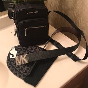Michael kors black crossbody with hat and belt